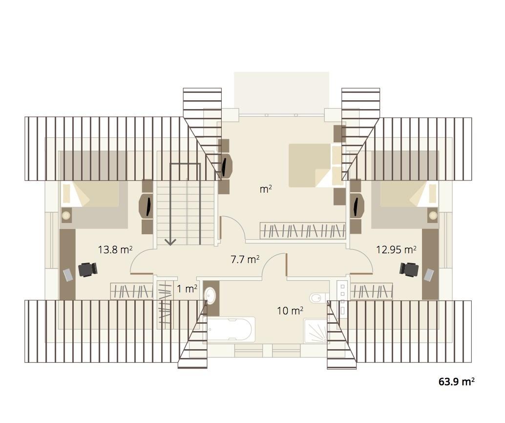 Dormer Ecohouse first floor