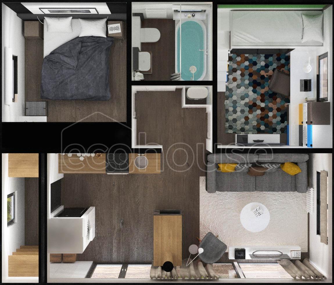 Modern 1 storey Ecohouse Plan